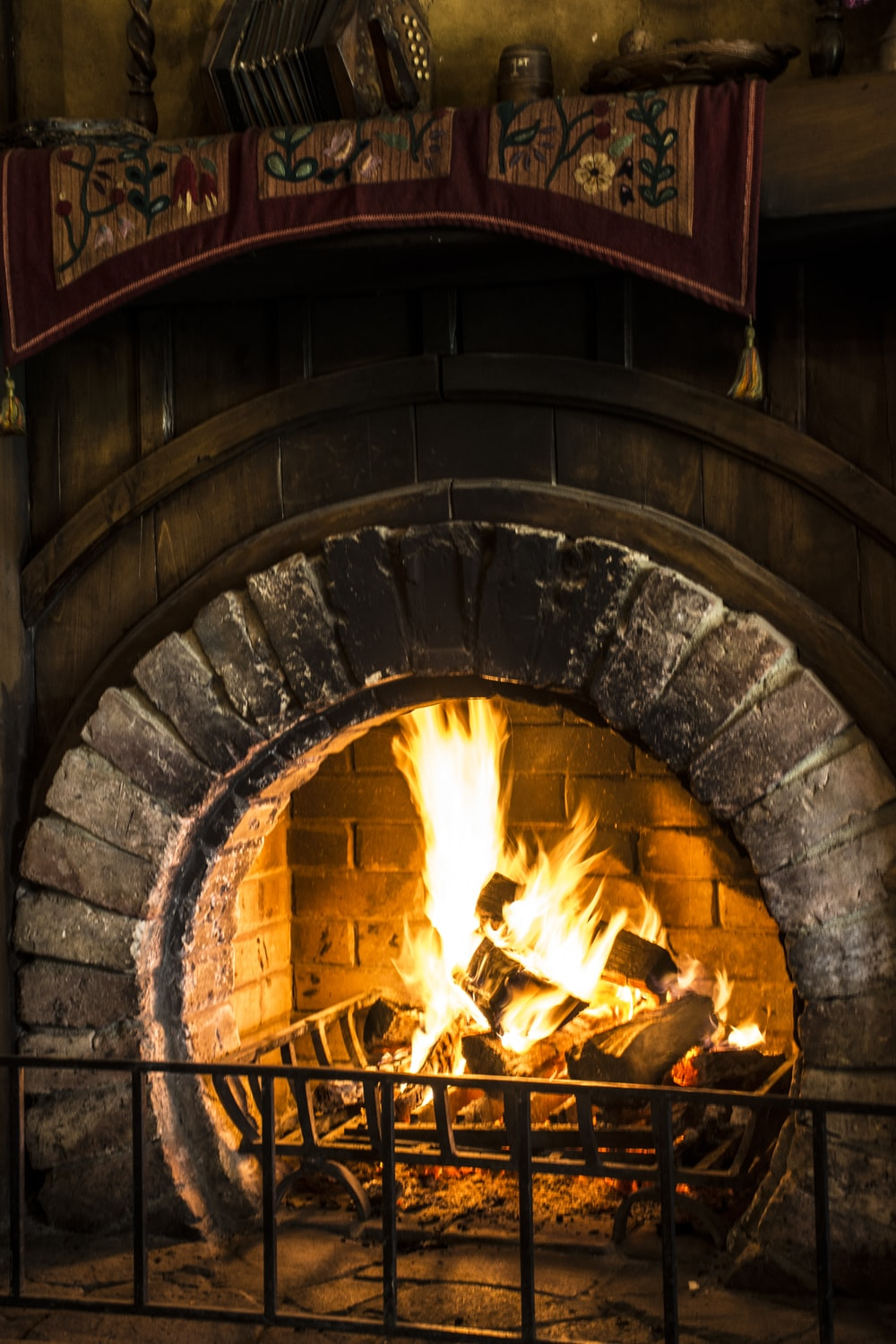 brown frame fireplace