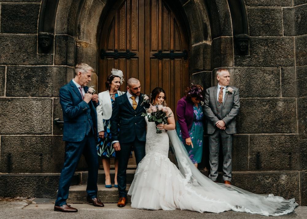wedding couple behind closed door