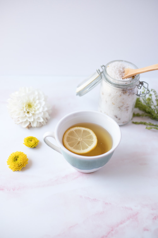 lemonade in white ceramic mug