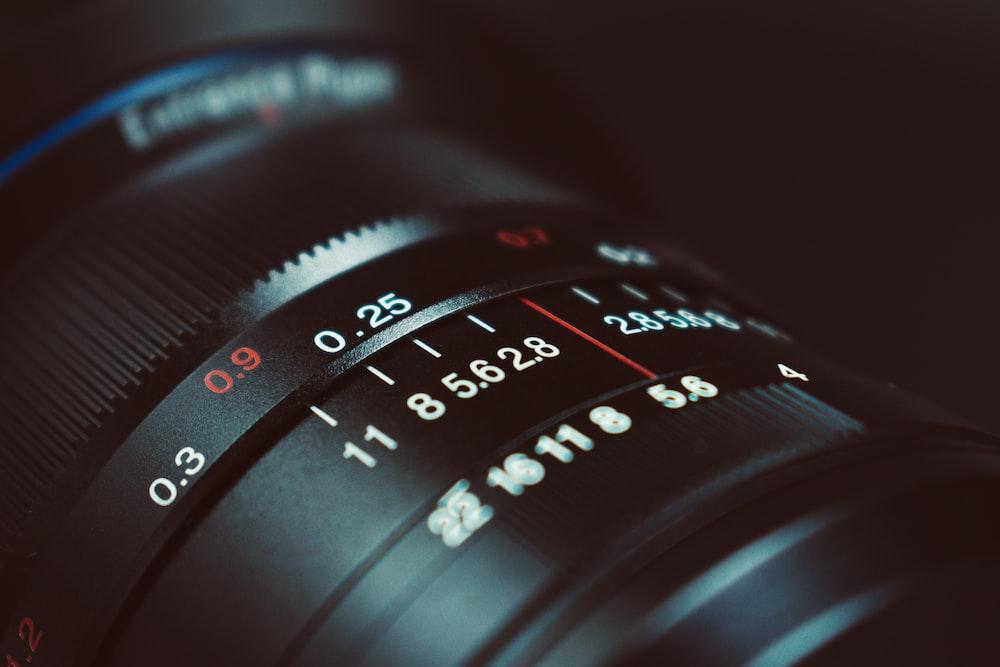 black DSLR camera lens