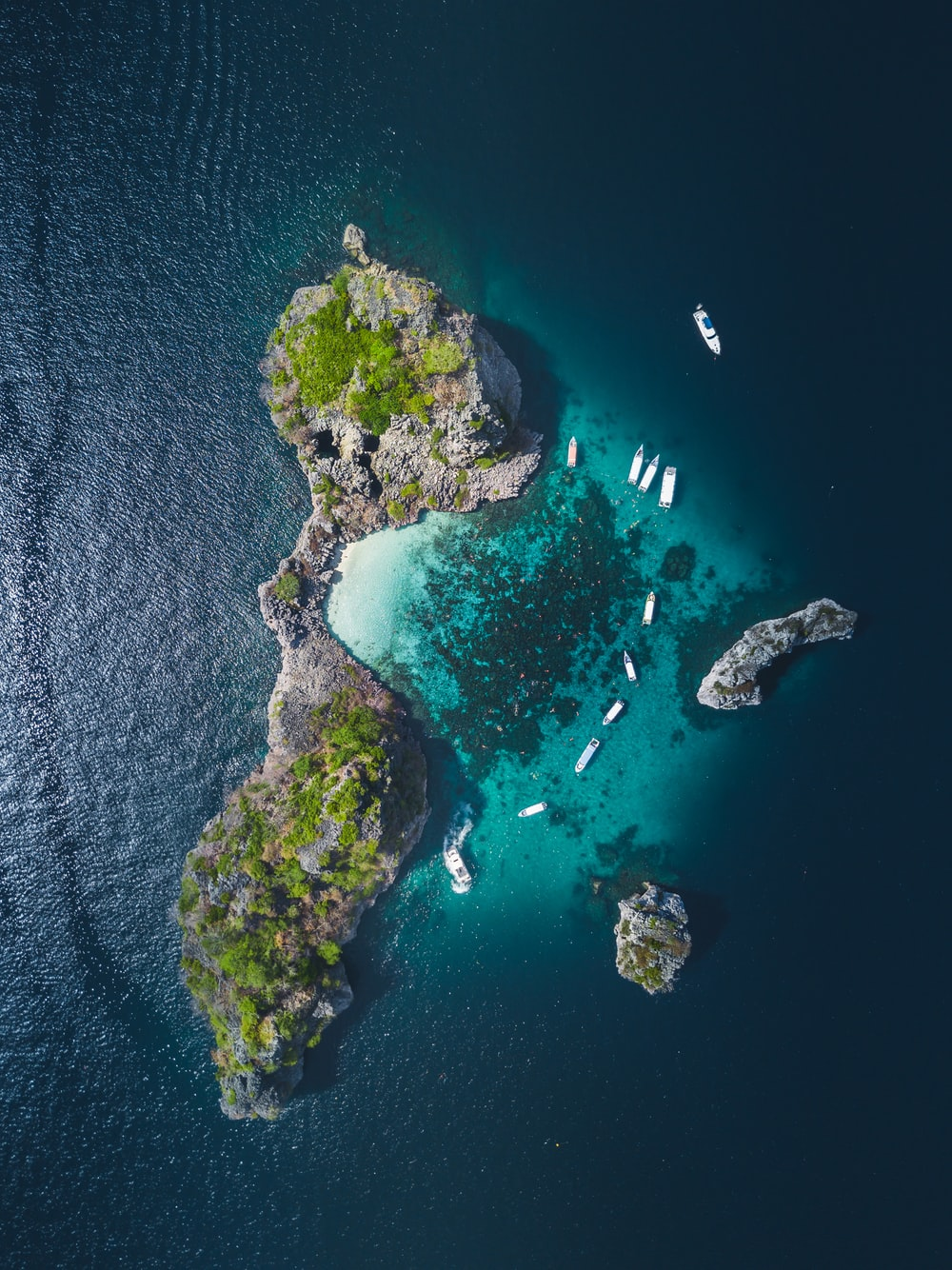 high-angle photo of green and white islet