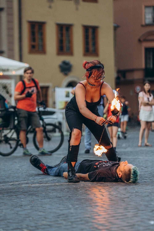 woman doing fire stunt