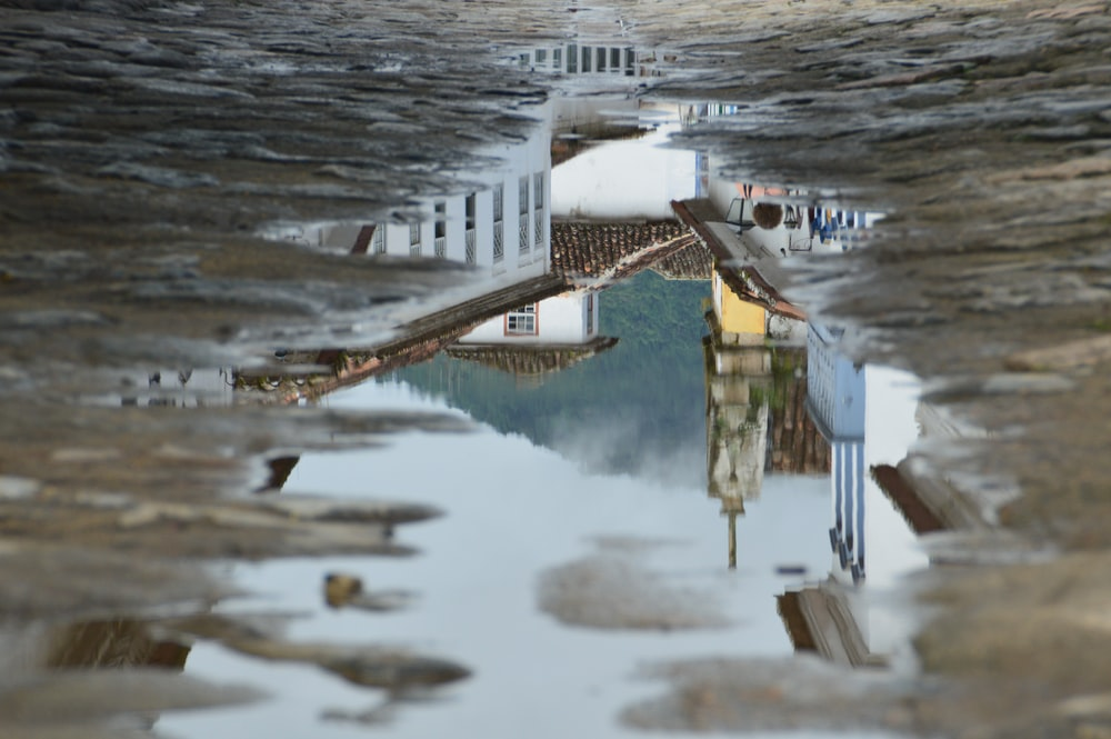 reflection of houses on puddle of water