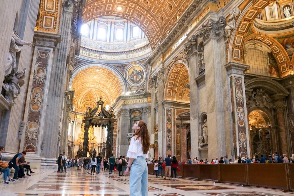 woman standing inside church