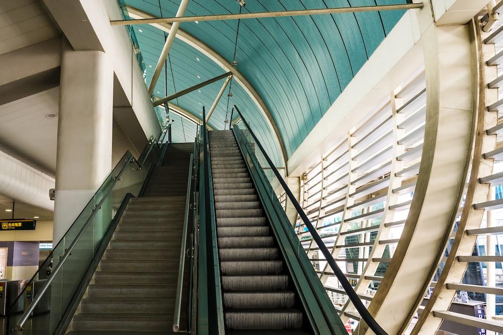 grey escalator