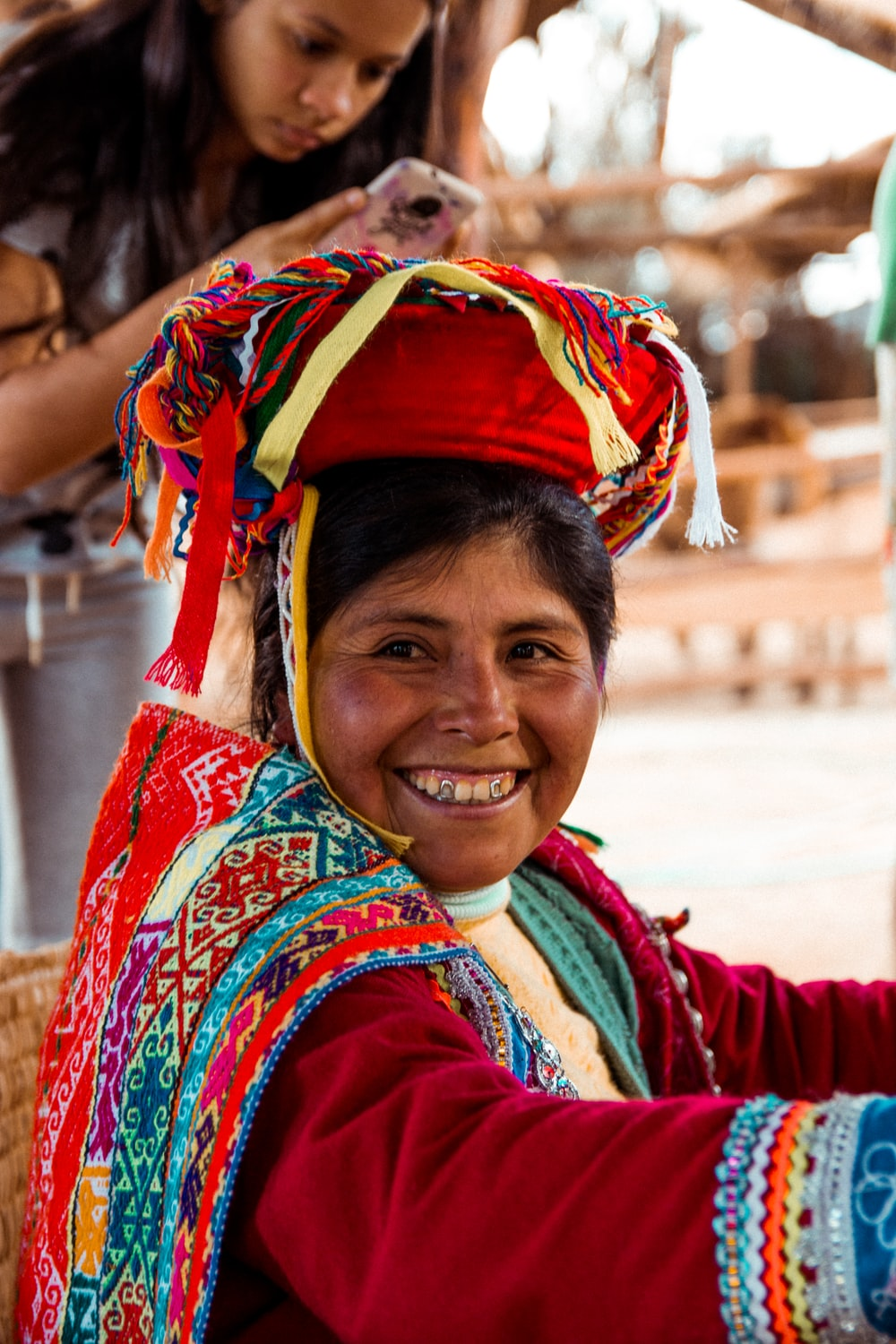 woman wearing multicolored traditional dress