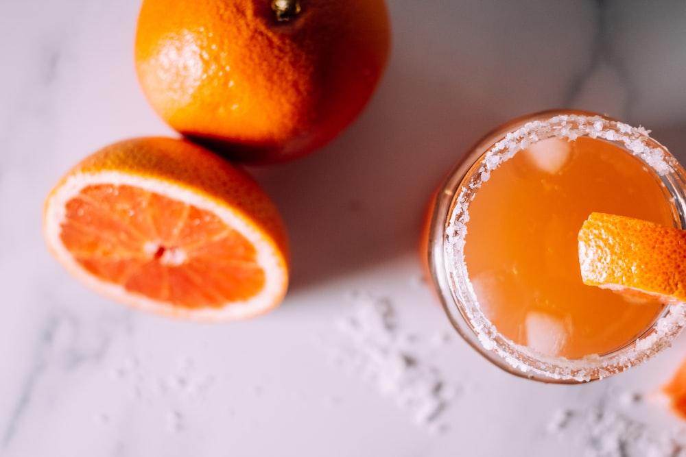 orange fruits and orange juice