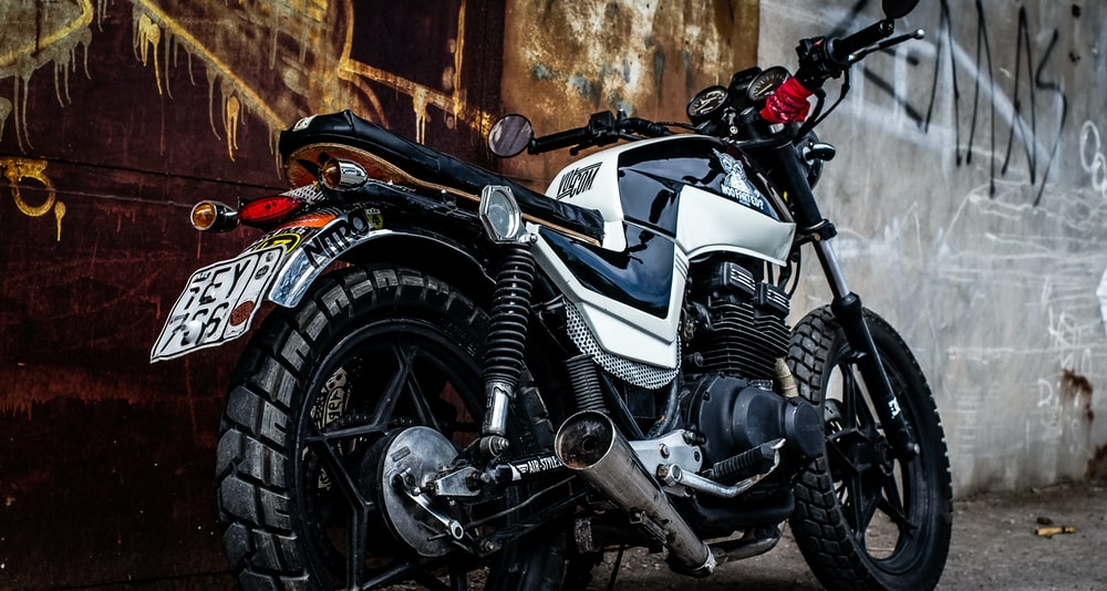 white and black motorcycle