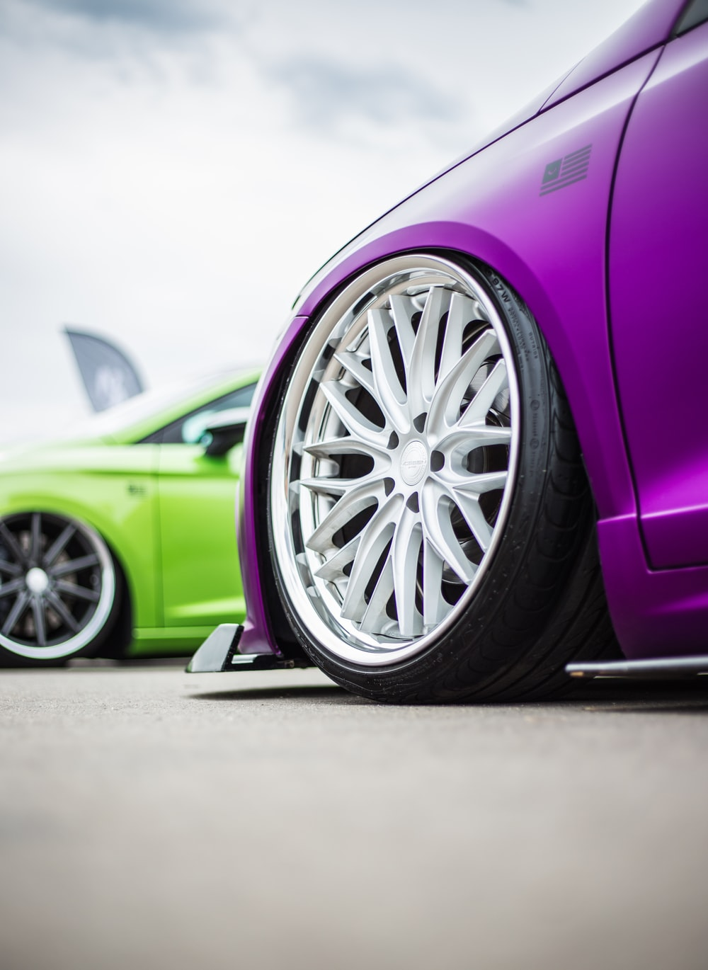 green and purple vehicles