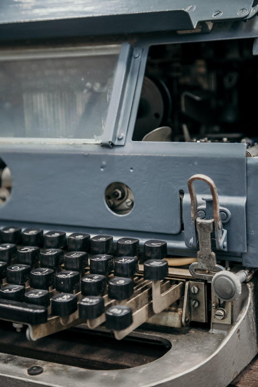 photo of gray typewriter