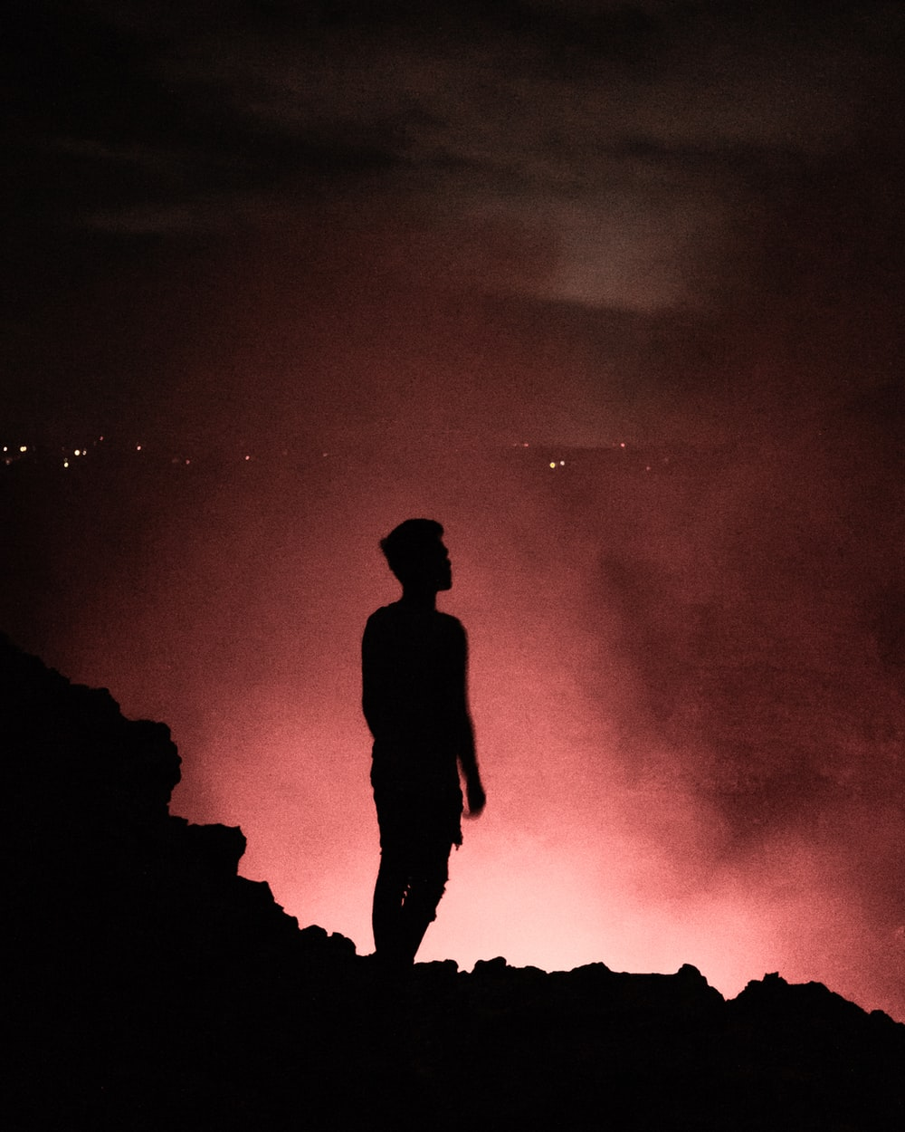 silhouette of man during nighttime
