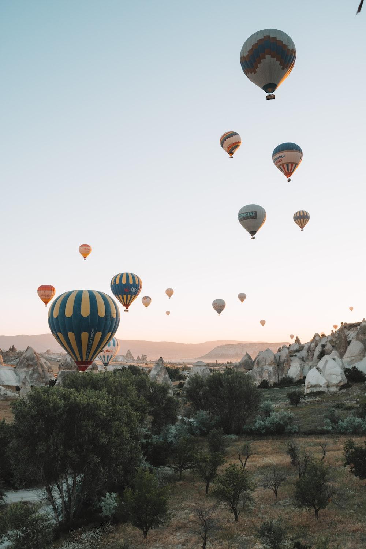 hot air balloons on mid air