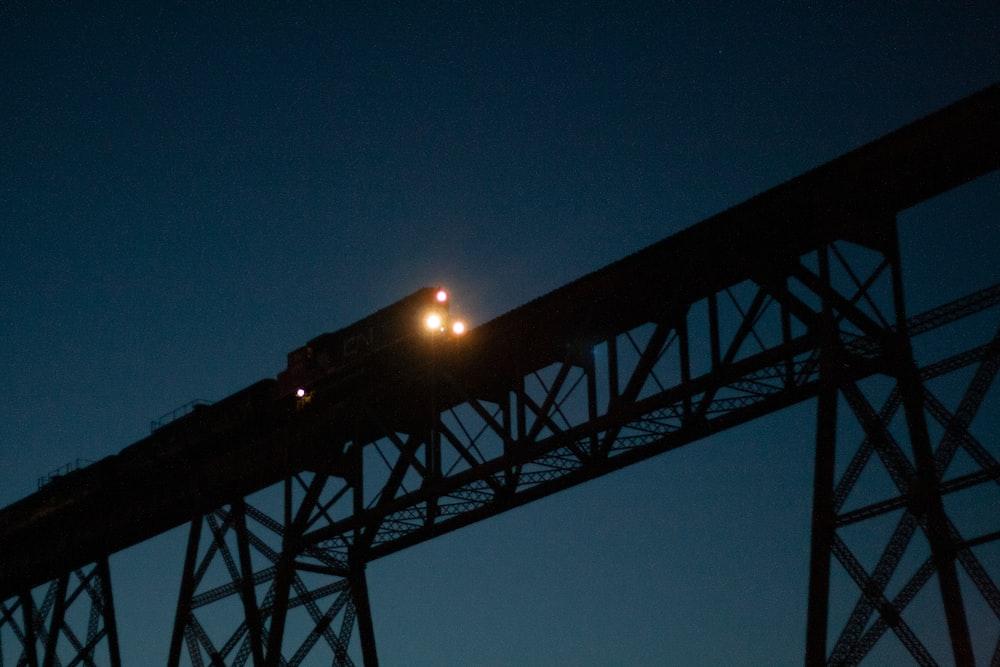 grey metal frame at night