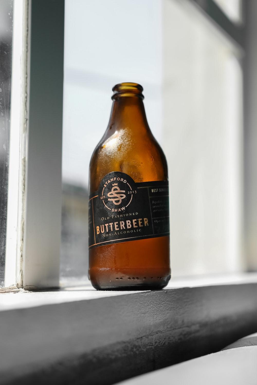 Butterbeer beer bottle on window sill