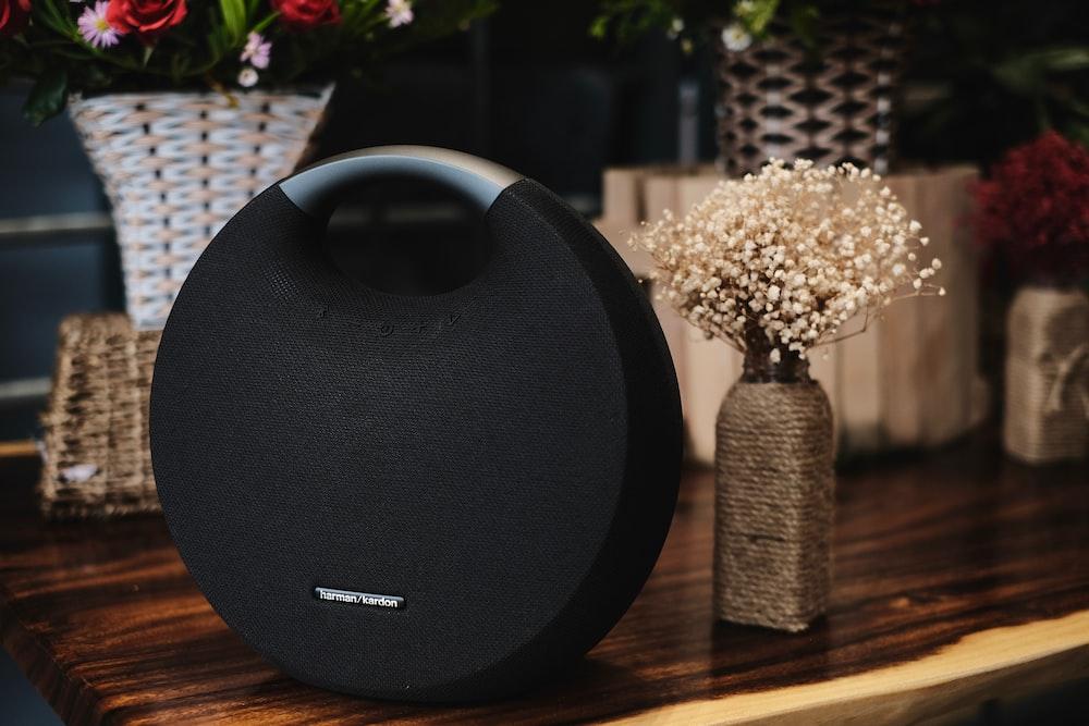 round black Bluetooth speaker