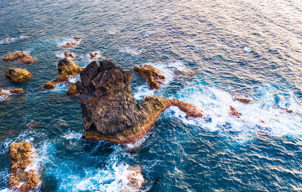 wide angle photography of island
