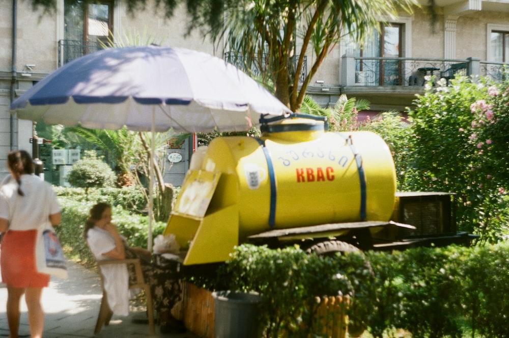 yellow metal tank