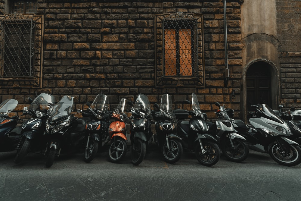 motorcycles park near building