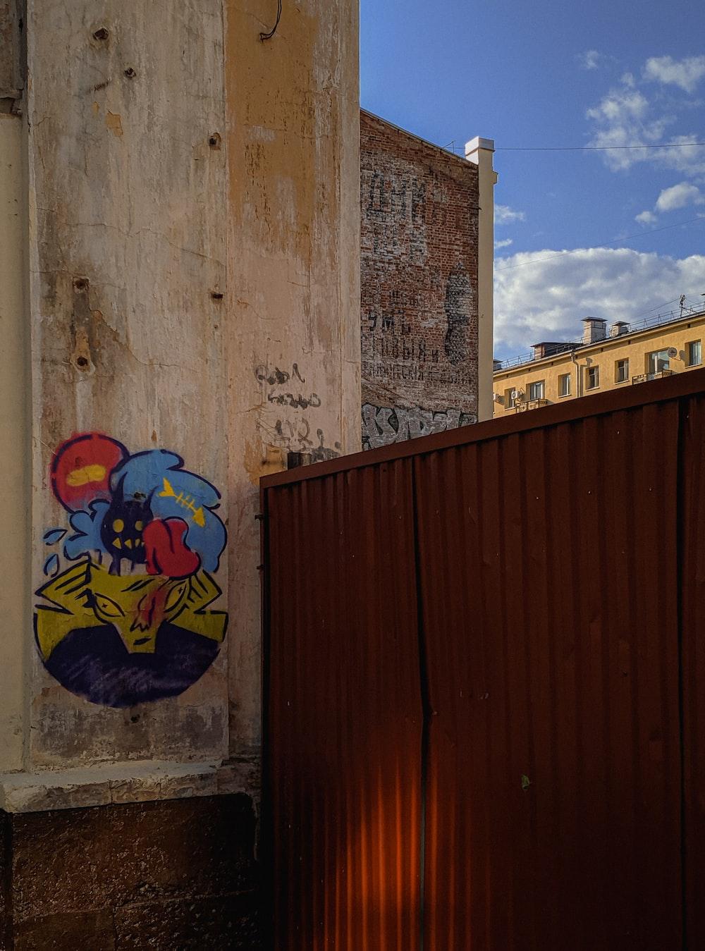 blue and yellow graffiti