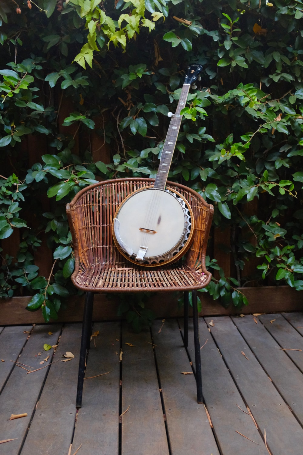 shallow focus photo banjo on brown wicker chair