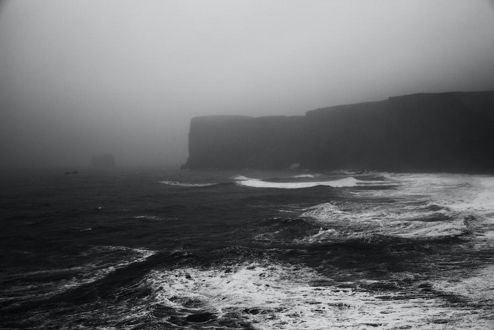 greyscale photo of seashore