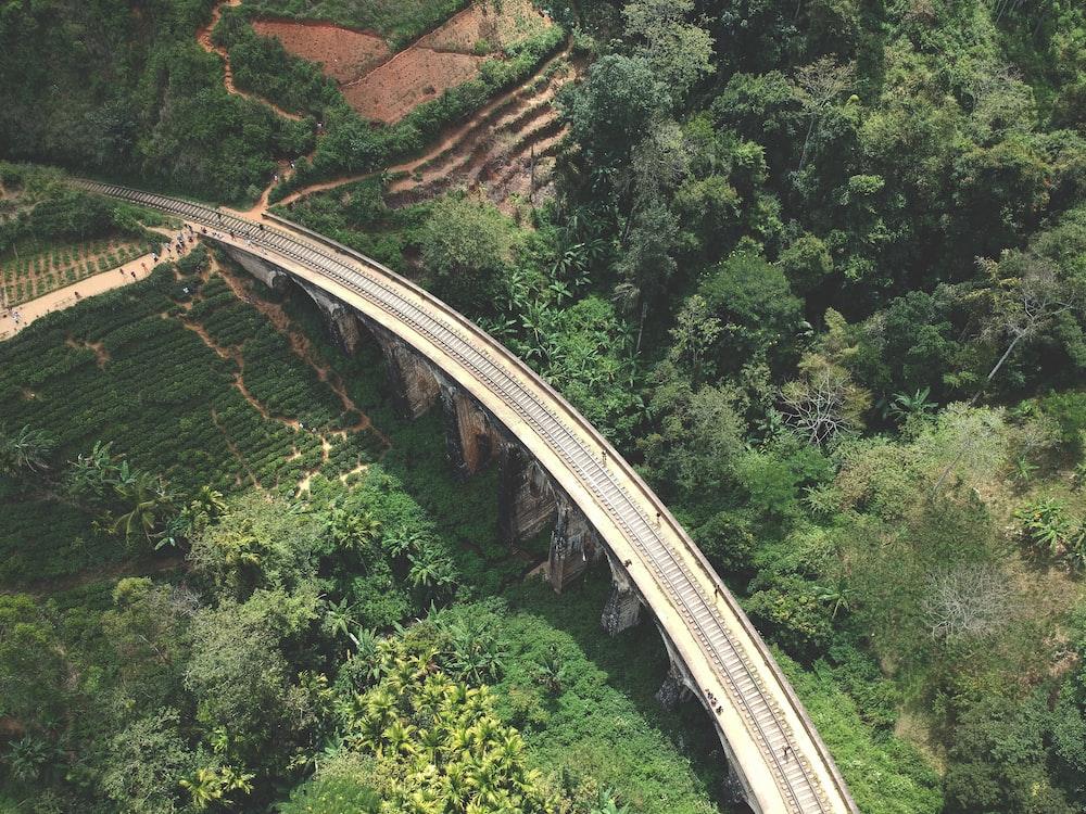 aerial photography of gray concrete bridge