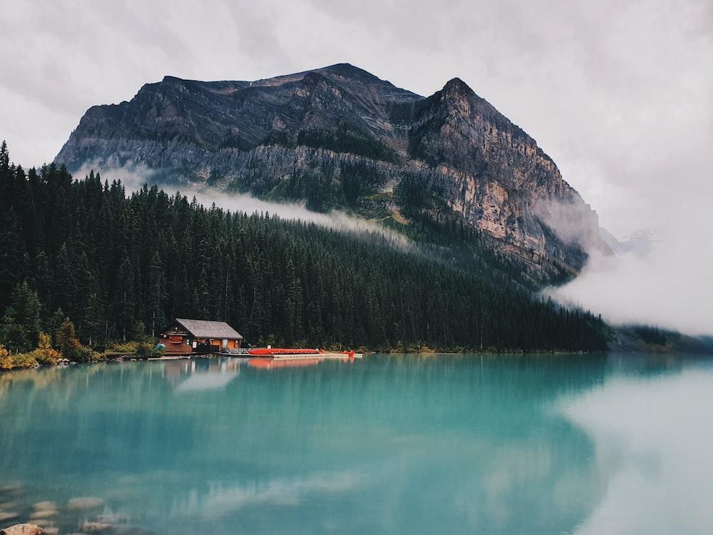 gray mountain near body of water