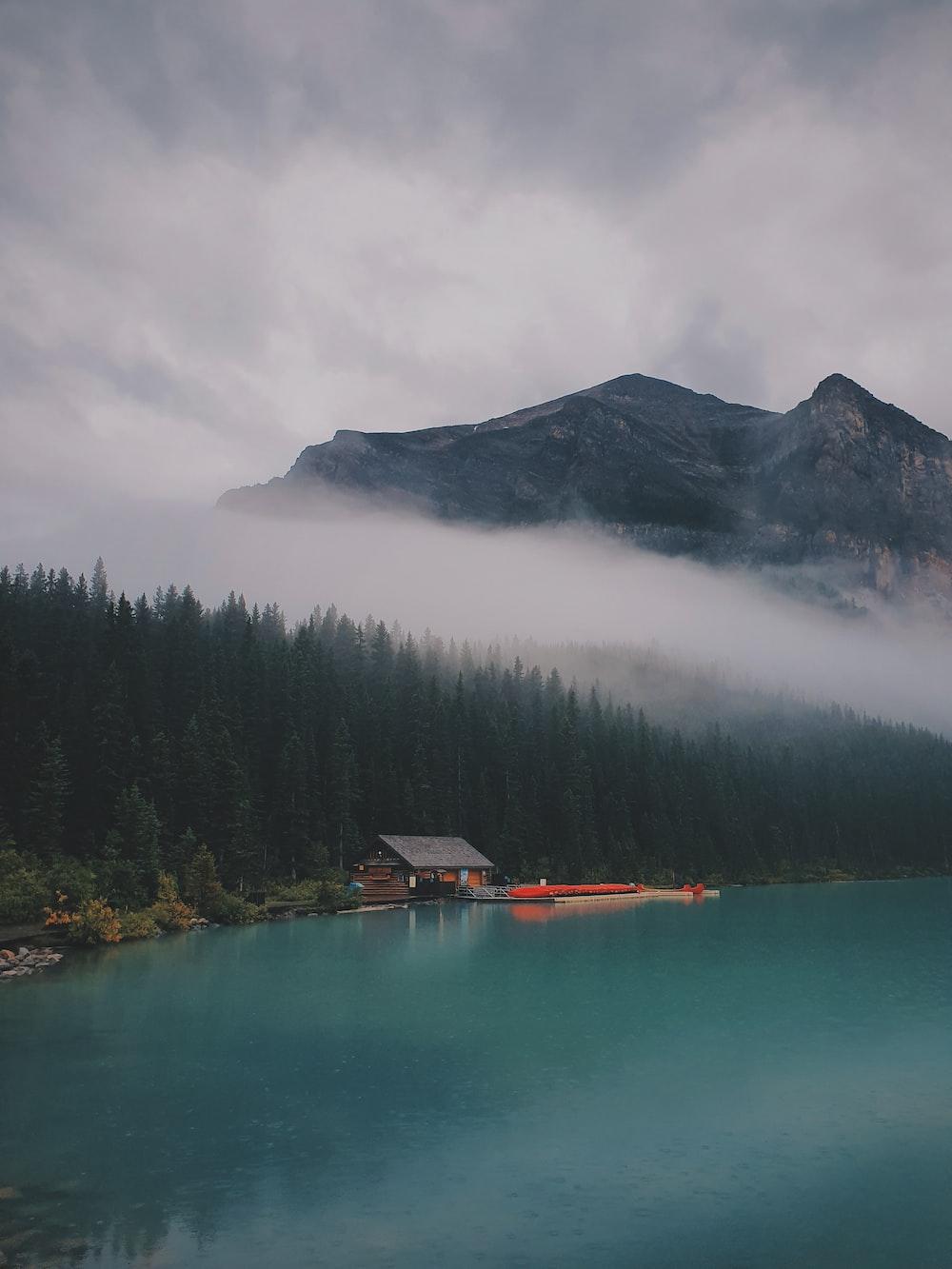 cabin beside lake