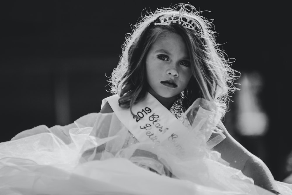 grayscale photography of girl wearing dress