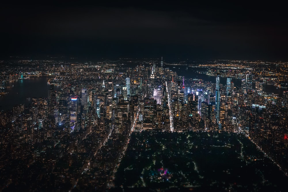 aerial view of lighted buildings during nighttime