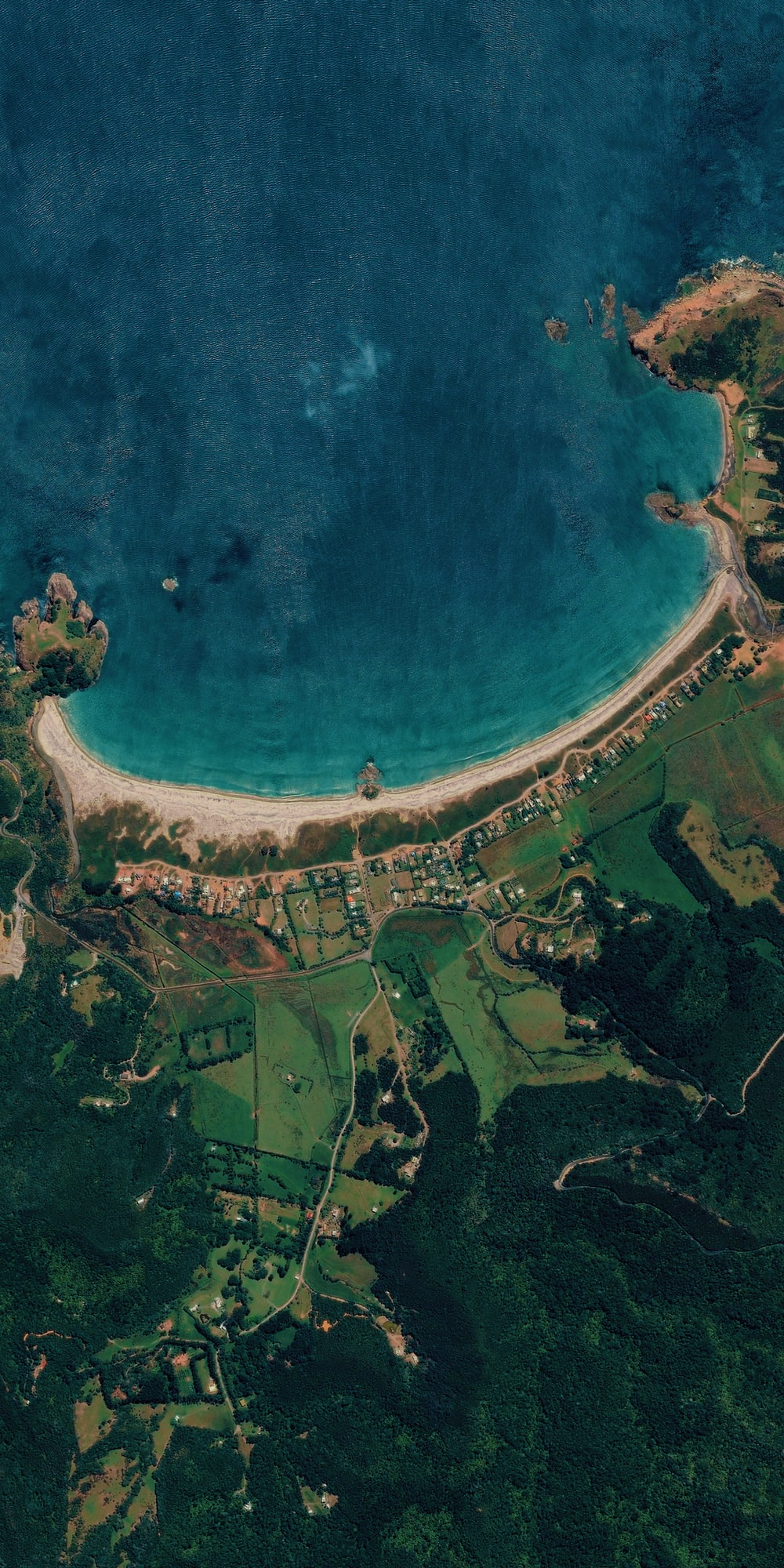aerial seashore and grass field scenery