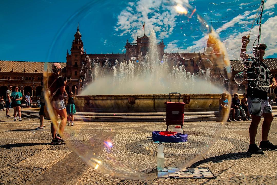 View of Plaza de Espana from a soap bubble