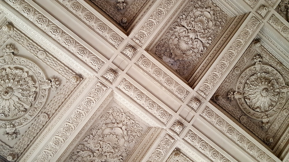 white painted decorative interior roof scenery