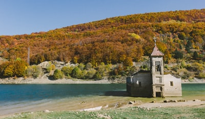 chapel surrounded by water north macedonia zoom background