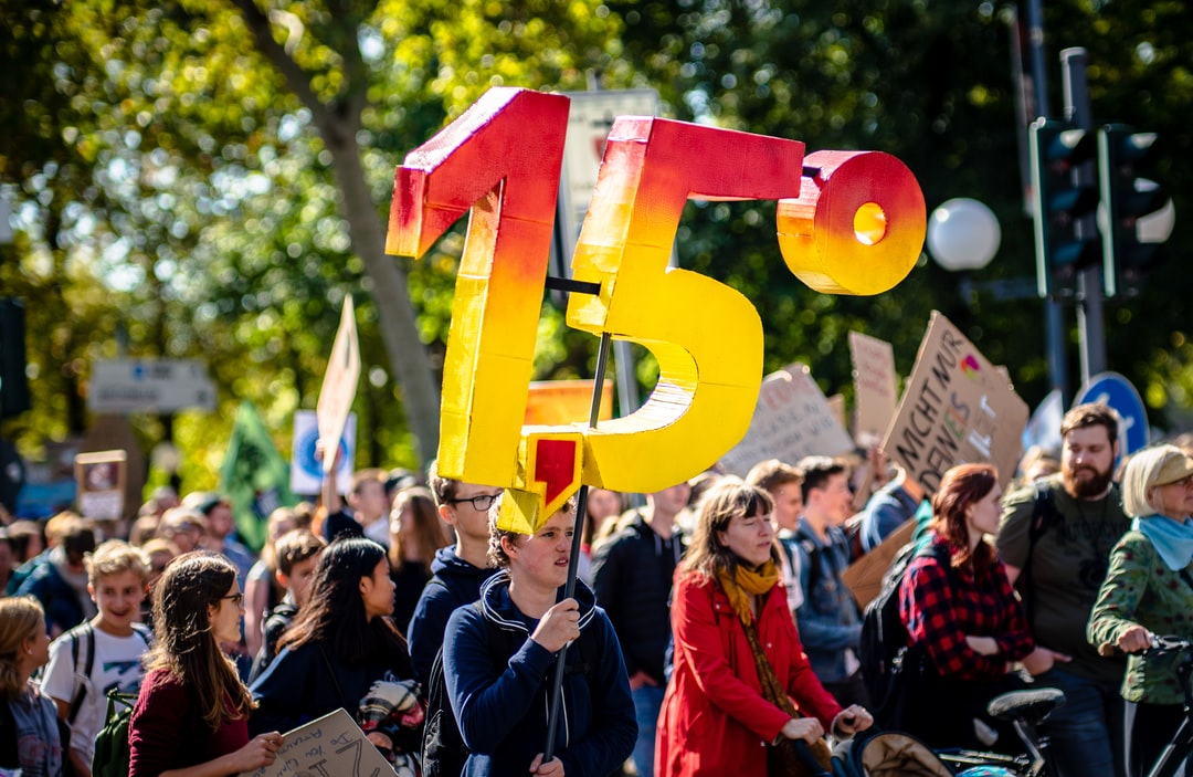 1.5 Degrees Celsius is the magical border - after that, there's no going back. Unfortunately. We are at 1 Degree Celsius right now.  Fridays For Future, 20.09.2019 in Bonn, Germany