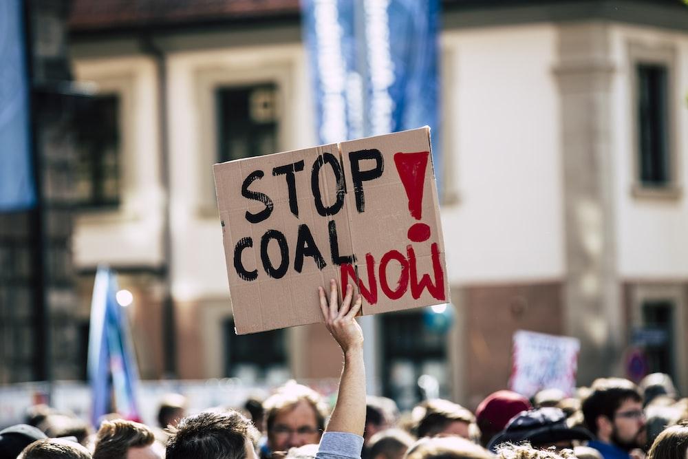 stop coal now printed cardboard