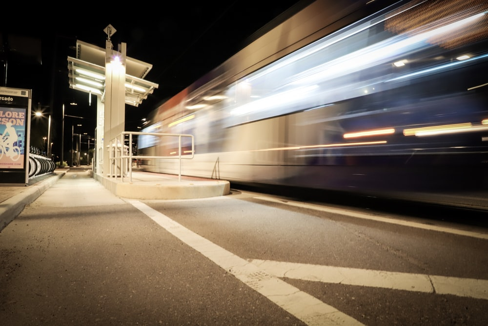 time lapse photo of train