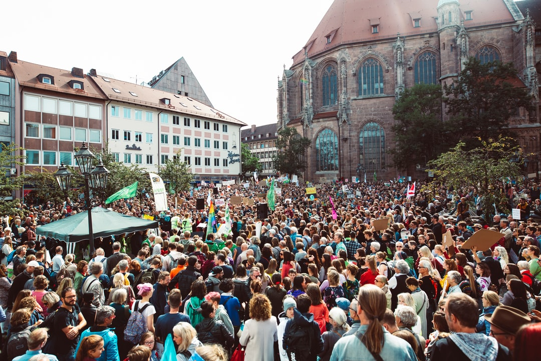 Lorenzer Platz, Nürnberg. Global climate change strike - No Planet B - Global Climate Strike 09-20-2019