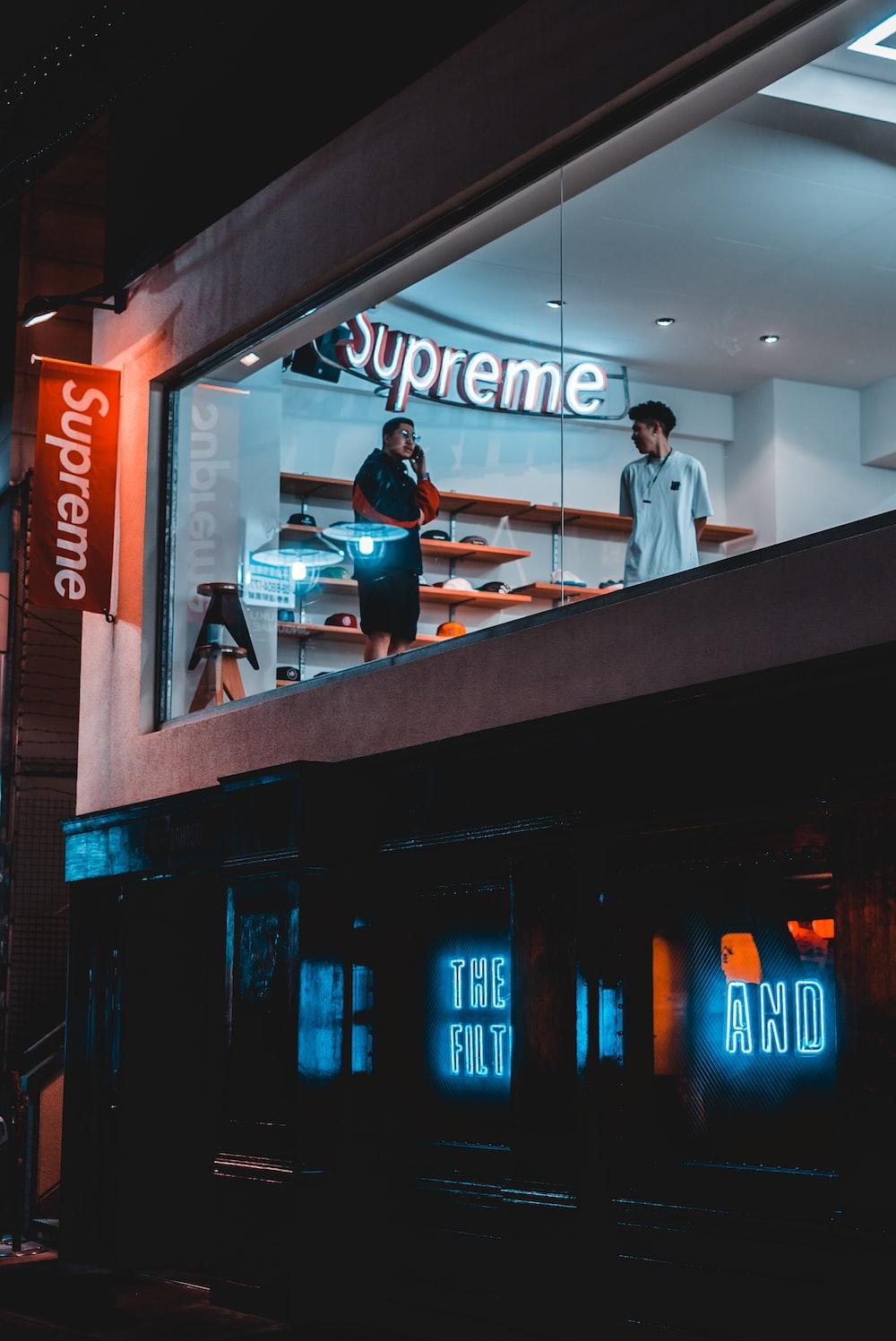 person in Supreme store