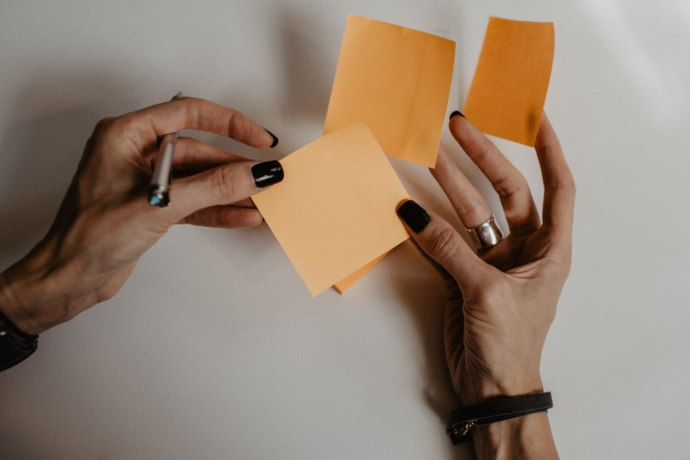 brown sticky notes
