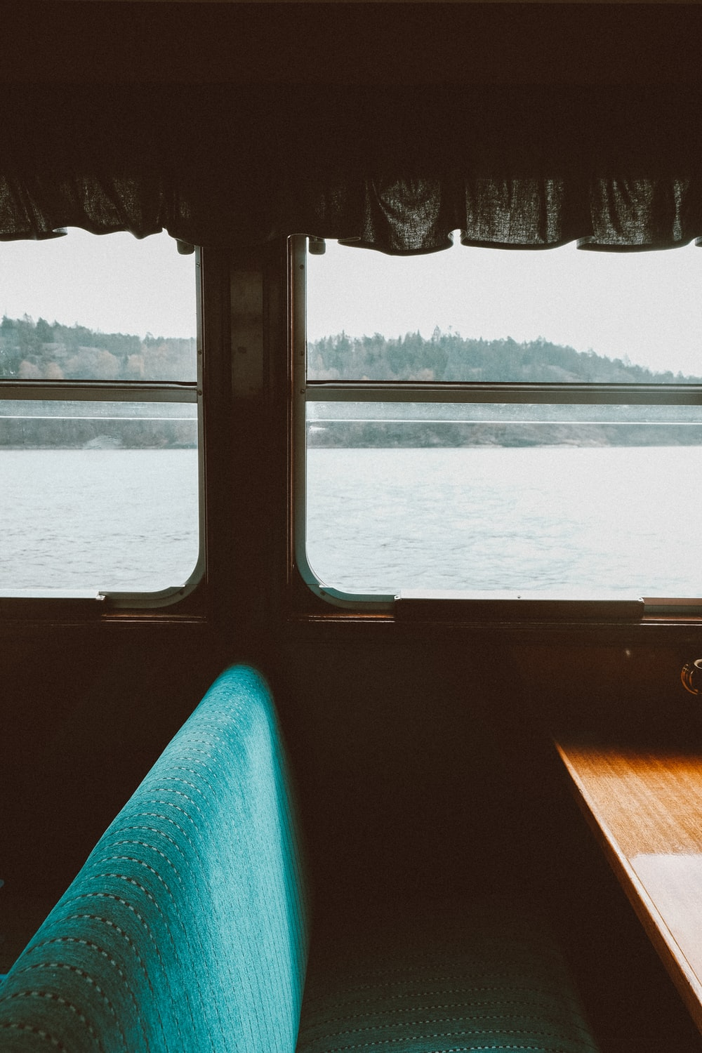blue seat of boat
