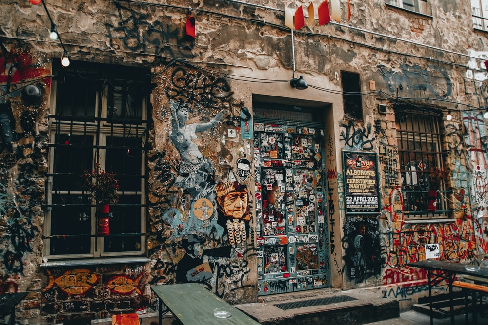 assorted-color graffiti wall