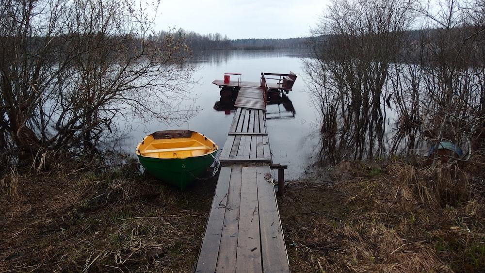 yellow and green canoe