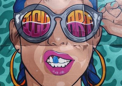 woman wearing sunglasses mural painting pop art teams background