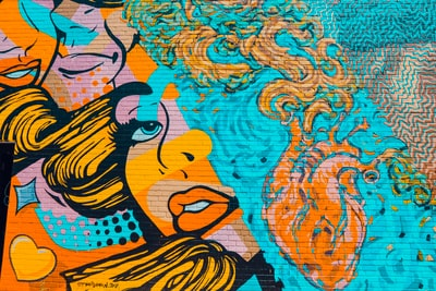 blue and orange orange wall art pop art teams background
