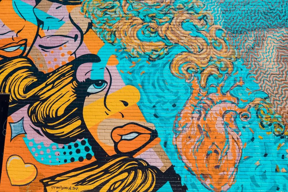 blue and orange orange wall art