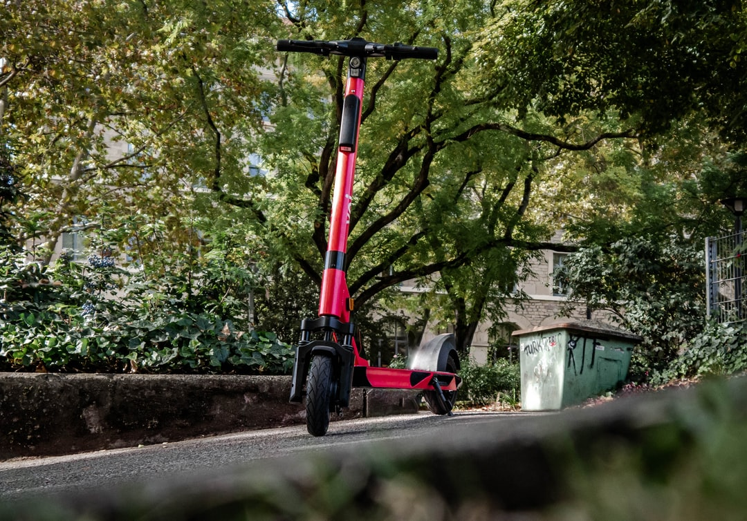 A E-Scooter In Red Waiting For Its Next User In Stuttgart!