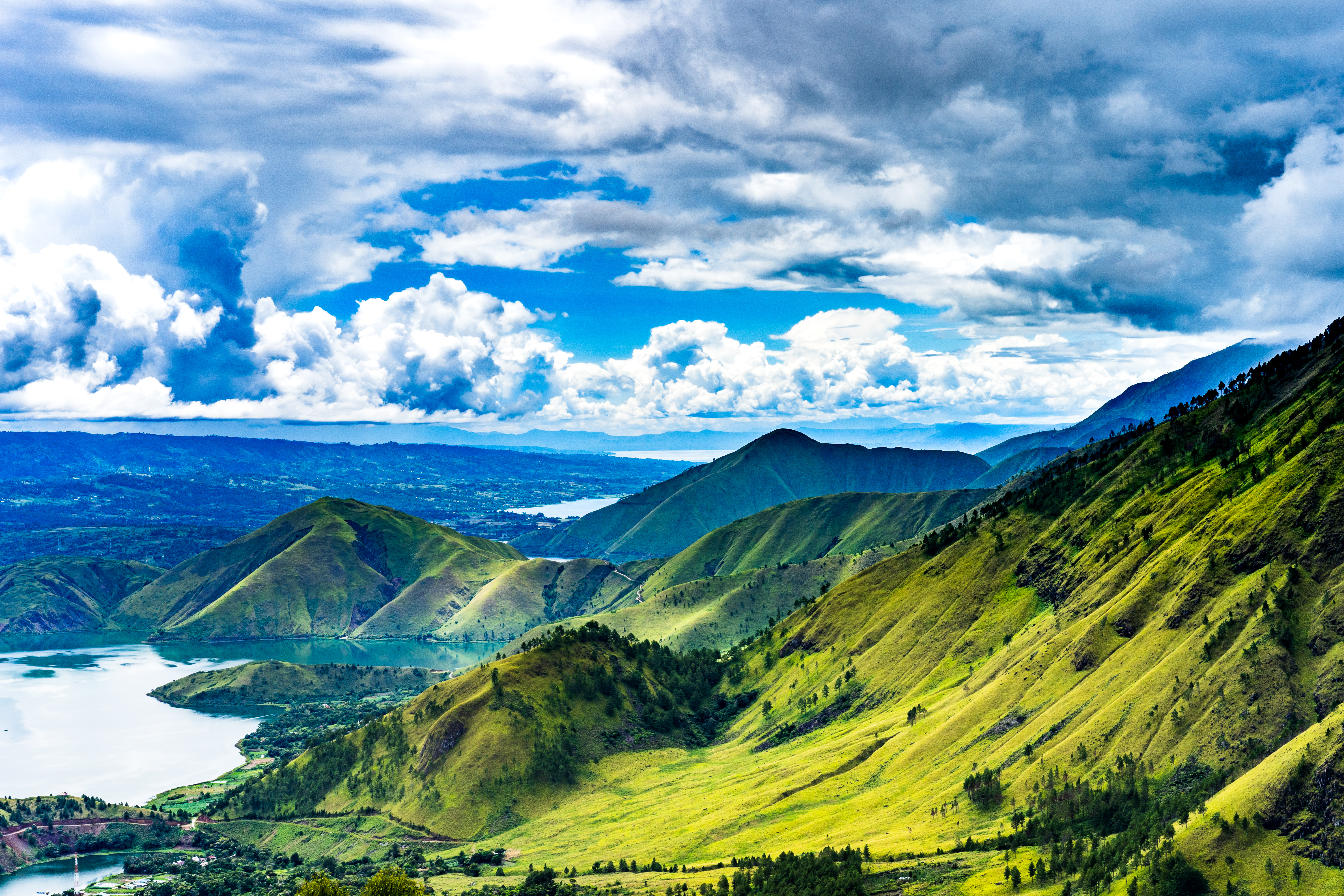 bright blue and green hills of Sumatra island
