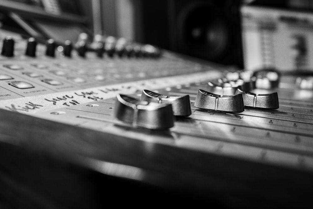 grayscale photo of audio mixer