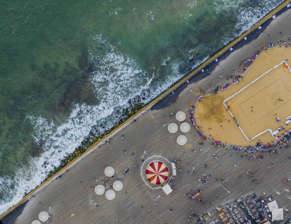 aerial photo of people near shore